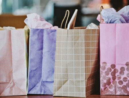 Various Shopping Bags pink and purple